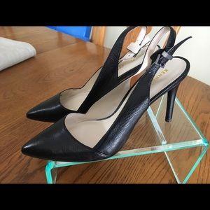 Kenneth Cole Black Leather Sling Back heels 8 1/2M
